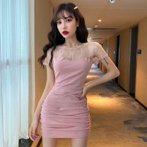 Dress Spring 2021 Pink, black S,M,L,XL Short skirt singleton  Short sleeve commute Crew neck High waist Solid color A button Pencil skirt routine Others T-type Korean version Splicing 31% (inclusive) - 50% (inclusive) Lace cotton