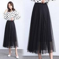 skirt Summer 2021 Average size Black, gray, pink Mid length dress Versatile Natural waist A-line skirt Solid color Type A Jasper rose