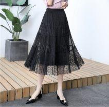 skirt Summer 2021 Average size Black, apricot Mid length dress Versatile Natural waist A-line skirt Solid color Type A Jasper rose
