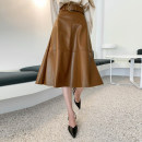 skirt Winter 2020 XS,S,M,L,XL,2XL,3XL Dark brown, black longuette commute High waist A-line skirt Solid color Type A 25-29 years old More than 95% PU zipper Korean version 351g / m ^ 2 (including) - 400g / m ^ 2 (including)