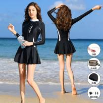 one piece  Great love Skirt one piece With chest pad without steel support Nylon, spandex H9600 female Long sleeves Casual swimsuit Solid color