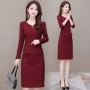 Dress Autumn 2020 red-checkered pattern L XL 2XL 3XL 4XL 5XL Mid length dress singleton  Long sleeves commute V-neck High waist lattice Socket One pace skirt routine Others 40-49 years old Type A Osaya Korean version Splicing OSYWWX5498 91% (inclusive) - 95% (inclusive) other polyester fiber