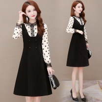 Dress Winter 2020 black M L XL 2XL 3XL Mid length dress singleton  Long sleeves commute stand collar High waist Dot Socket A-line skirt routine Others 40-49 years old Type A Osaya Korean version Stitched zipper print OSYWWX7975 More than 95% other polyester fiber Pure e-commerce (online only)