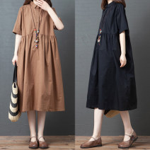 Dress Summer 2020 Black, Khaki M [recommended 120 kg], l [recommended 120-135 kg], XL [recommended 135-150 kg], 2XL [recommended 150-170 kg] longuette singleton  Short sleeve commute Polo collar Loose waist Solid color routine Others 18-24 years old 81% (inclusive) - 90% (inclusive) cotton