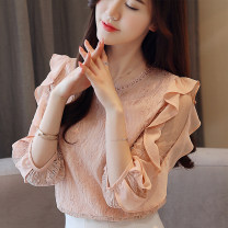 Lace / Chiffon Spring 2021 Picture color S,M,L,XL,2XL three quarter sleeve Sweet Socket singleton  Regular Crew neck Solid color Lotus leaf sleeve 25-29 years old Other / other M099