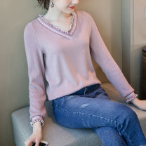 Women's large Spring 2020 Light purple light purple pre-sale (delivery within 7 days after payment) L XL 2XL 3XL 4XL 5XL Knitwear / cardigan singleton  street easy moderate Socket Long sleeves stripe V-neck routine Polyester acrylic other Three dimensional cutting routine SZYF18D5650 25-29 years old