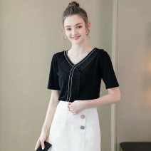 Women's large Summer 2020 Black spot black pre-sale (delivery within 10 days after payment) white spot white pre-sale (delivery within 10 days after payment) XL 2XL 3XL sweater singleton  street easy moderate Socket Short sleeve V-neck routine fold routine SZ22XZA5332-2 Extravagant posture