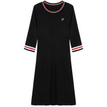 Women's large Spring 2021 Black spot black pre sale (delivery within 15 days after payment) XL [suitable for 120-150 Jin] 2XL [suitable for 150-180 Jin] 3XL [suitable for 180-200 Jin] Dress singleton  street easy moderate Socket Long sleeves Solid color Crew neck Polyester others routine 9811850823-2