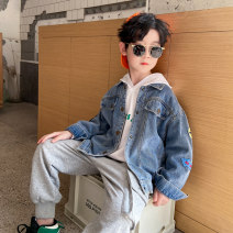 Plain coat Baby & HH / baby Hengheng male 100cm 110cm 120cm 130cm 140cm 150cm 160cm blue spring and autumn Korean version Single breasted There are models in the real shooting routine nothing Solid color Denim Lapel Class C Spring 2021