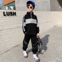 suit Baby & HH / baby Hengheng Black grey 100cm 110cm 120cm 130cm 140cm 150cm 160cm male spring and autumn Korean version Long sleeve + pants 2 pieces routine There are models in the real shooting Zipper shirt nothing letter other children Expression of love K211TZ038 Class B Other 100% Spring 2021