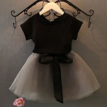 suit Other / other black 7(90cm),9(100cm),11(110cm),13(120cm),15(130cm) female summer Korean version Short sleeve + skirt 2 pieces Thin money Socket nothing other children Expression of love F3024 2 years old, 3 years old, 4 years old, 5 years old, 6 years old