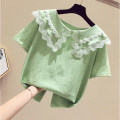 T-shirt Green lace collar top, orange lace collar top Other / other 110cm,120cm,130cm,140cm,150cm,160cm female Short sleeve leisure time No model cotton other Class B 10, 11, 12, 2, 3, 4, 5, 6, 7, 8, 9