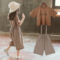 suit Other / other Army green suspenders + white top, coffee suspenders + coffee top female summer Korean version Short sleeve + pants 2 pieces routine There are models in the real shooting Socket nothing stripe Cotton blended fabric children Giving presents at school TZDH5411 Class B Other 100%
