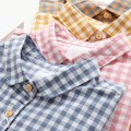 shirt Khaki, blue, pink S,M,L,XL Autumn 2020 cotton 96% and above Short sleeve Sweet Polo collar Single row multi button routine lattice 18-24 years old Straight cylinder Embroidery college