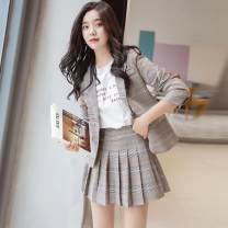 suit Spring 2021 Khaki [jacket + skirt] S,M,L,XL Long sleeves routine Self cultivation tailored collar A button commute routine lattice 81% (inclusive) - 90% (inclusive) polyester fiber Pocket, button