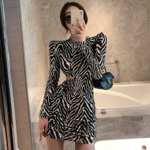 Dress Spring 2021 Brown, black and white S,M,L Short skirt singleton  Long sleeves Crew neck High waist One pace skirt routine 18-24 years old cotton