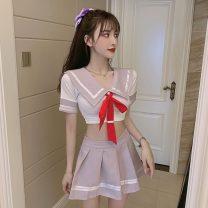 Fashion suit Spring 2021 S,M,L Purple top, purple skirt, grey top, grey skirt, purple suit, grey suit 18-25 years old 51% (inclusive) - 70% (inclusive) cotton