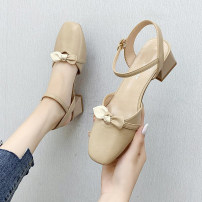 Sandals 35,36,37,38,39,40 Off white, apricot PU Other / other Baotou Thick heel Middle heel (3-5cm) Summer 2021 Flat buckle Korean version Solid color Adhesive shoes Youth (18-40 years old) rubber daily Back space Bow tie, thick heel Low Gang Lateral space PU PU Flat buckle Shaving
