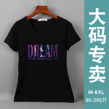 T-shirt White, gray, black, rose, red, pink M,L,XL,2XL,3XL,4XL,5XL,6XL Summer 2020 Short sleeve V-neck easy have cash less than that is registered in the accounts routine commute cotton 86% (inclusive) -95% (inclusive) Korean version letter