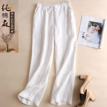 Casual pants White, 45% hemp in deep khaki and 45% hemp in light Khaki XL (120-129 kg), l (110-119 kg), m (below 109 kg), 2XL (130-140 kg), 3XL (141-160 kg) Summer 2020 trousers Straight pants High waist commute Thin money 25-29 years old 81% (inclusive) - 90% (inclusive) Flax and cotton Other hemp