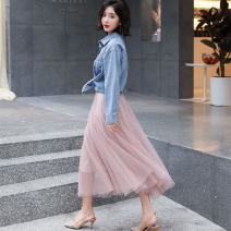 Dress Spring of 2019 Blue + Pink S,M,L,XL longuette Two piece set Long sleeves commute Polo collar High waist Solid color Socket Big swing routine Others 25-29 years old Type X Other / other Korean version Bow, button EZMKX905 51% (inclusive) - 70% (inclusive) other cotton