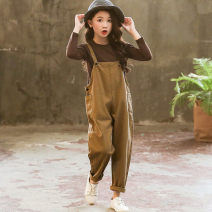 suit Other / other Coffee autumn long sleeve suspender suit , Pink Butterfly suit Size 110, height 100 recommended , Size 120, height 110 , 130, height 120 , 140, recommended height 130 , 150, recommended height 140 , Size 160, height 150 female spring and autumn other Long sleeve + pants 2 pieces