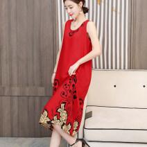 Dress Summer 2021 1, 2, 3, 4, 5, 6, 7, 8, 9, 10, 11, 12, 13, 14, 15, 16 XL [90-105 Jin], 2XL [105-120 Jin], 3XL [120-135 Jin], 4XL [135-150 Jin], 5XL [150-165 Jin] Mid length dress singleton  Sleeveless commute Crew neck Loose waist Decor Socket A-line skirt routine 40-49 years old Type H Xinya Nuo