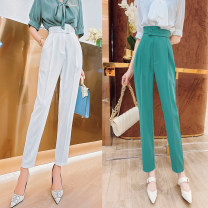 Casual pants Blue, black, white S,M,L Summer 2021 Ninth pants Haren pants High waist commute routine 30-34 years old 31% (inclusive) - 50% (inclusive) K214032 MISS FLY PERSONAL TAILOR other Korean version zipper