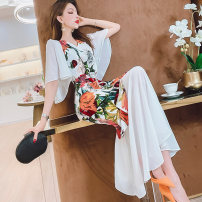 Dress Summer 2021 white M,L,XL,2XL Mid length dress singleton  Short sleeve commute V-neck High waist Decor zipper One pace skirt Flying sleeve Others 30-34 years old Type H MISS FLY PERSONAL TAILOR Korean version Stitching, zipper, printing L216063 31% (inclusive) - 50% (inclusive) other other