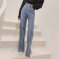 Jeans Spring 2021 blue S,M,L,XL trousers High waist Wide legged trousers routine 30-34 years old Zipper, button, multiple pockets Cotton denim Dark color K203523 MISS FLY PERSONAL TAILOR 96% and above