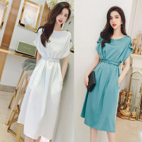 Dress Summer 2021 White, lake blue S,M,L,XL Mid length dress singleton  Sleeveless commute Crew neck High waist Solid color Socket One pace skirt other Others 25-29 years old Type H MISS FLY PERSONAL TAILOR Korean version Lace up, button L205264 31% (inclusive) - 50% (inclusive) other other