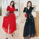 Dress Summer 2021 Black, red M,L,XL Mid length dress singleton  Short sleeve commute V-neck High waist Solid color zipper One pace skirt Lotus leaf sleeve Others 30-34 years old Type A MISS FLY PERSONAL TAILOR Korean version Ruffles, buttons, zippers L216034 31% (inclusive) - 50% (inclusive) other