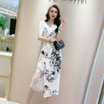 Dress Summer 2021 Black [print short sleeves], white [print short sleeves] S,M,L,XL,2XL Mid length dress singleton  Short sleeve commute V-neck High waist Solid color zipper One pace skirt routine Others 25-29 years old Type H MISS FLY PERSONAL TAILOR Korean version L205242 other other