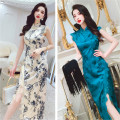 Dress Summer 2021 Apricot, blue S,M,L,XL Mid length dress singleton  Sleeveless commute stand collar High waist Decor zipper One pace skirt Princess sleeve Others 25-29 years old Type H MISS FLY PERSONAL TAILOR Korean version Zipper, lace, print L205336 31% (inclusive) - 50% (inclusive) other other