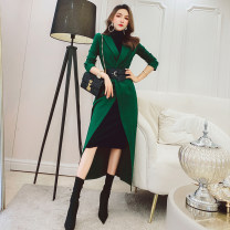 Dress Spring 2021 S,M,L,XL,2XL Mid length dress Two piece set Long sleeves commute tailored collar High waist Solid color other One pace skirt routine Others 25-29 years old Type H MISS FLY PERSONAL TAILOR Korean version Frenulum 31% (inclusive) - 50% (inclusive) other other