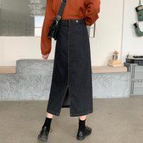 skirt Autumn 2020 S,M,L,XL,2XL,3XL,4XL black Mid length dress commute High waist A-line skirt Solid color Type A 18-24 years old 81% (inclusive) - 90% (inclusive) Denim cotton Button Korean version