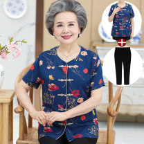 Middle aged and old women's wear Summer of 2019 ethnic style shirt Straight cylinder singleton  Decor Over 60 years old Cardigan thin Crew neck routine routine Embroidery polyester Single breasted Short sleeve trousers