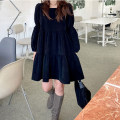 Dress Spring 2021 black Average size Short skirt Long sleeves Loose waist