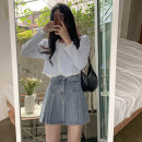 skirt Spring 2021 S,M,L wathet Short skirt commute High waist A-line skirt Solid color Type A 18-24 years old Denim cotton Old, button Korean version