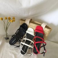Sandals 35 36 37 38 39 White, red, black Jie Shiqi PU Barefoot Thick heel Middle heel (3-5cm) Summer of 2018 Flat buckle Korean version Solid color Adhesive shoes Youth (18-40 years old) rubber daily Ankle strap Rough and Roman Low Gang Lateral space PU PU one thousand two hundred and ninety-nine