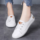 Low top shoes 35,36,37,38,39,40 Other / other White, black Round head Double skin (except cattle suede) Flat bottom Flat heel (1cm or less) Shallow mouth Cowhide / pigskin lining Spring 2020 Elastic band Korean version Adhesive shoes Youth (18-40 years old), middle age (40-60 years old) Solid color