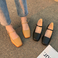 Low top shoes 35,36,37,38,39,40 Other / other Black, apricot Square head PU Thick heel Middle heel (3-5cm) Shallow mouth PU Summer 2020 Flat buckle Korean version Adhesive shoes Youth (18-40 years old) Solid color Composite bottom Mary Jane shoes PU daily Face dressing