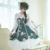 Dress Autumn 2020 Fanhuayi in stock , Shenghua Yunjin in stock , Butterflies in stock , Autumn shadow scissors , Huanian Jinshi in stock , Deep in flowers S,M,L,XL Middle-skirt singleton  Long sleeves Sweet other High waist Decor Socket A-line skirt other Others 18-24 years old Type A DorisNight