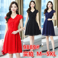Women's large Summer 2020 Red, blue, black M [yes, 90 to 100 kg], l [suitable for 100 to 110 kg], XL [suitable for 110 to 120 kg], XXL [suitable for 120 to 135 kg], 3XL [suitable for 135 to 150 kg], 4XL [suitable for 150 to 170 kg], 5XL [suitable for 170 to 185 kg] Dress singleton  Sweet moderate Dot