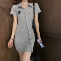 Women's large Retro routine Pencil skirt Summer 2021 commute singleton  Short skirt Short sleeve Polo collar Solid color Condom Self cultivation 18-24 years old other Stereoscopic cutting Button 81% (inclusive) - 90% (inclusive) S. M, l, collect and purchase free freight insurance Grey, black