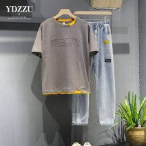 Leisure sports suit summer M L XL 2XL 3XL Bean green two-piece set (T-shirt + jeans) dark gray two-piece set (T-shirt + jeans) white two-piece set (T-shirt + jeans) ice blue two-piece set (T-shirt + jeans) Short sleeve Yidan family trousers teenagers T-shirt 2021YDX031XX polyester fiber Summer 2021