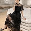 Dress Spring 2021 black M,L,XL,2XL Short sleeve commute Dot Socket other