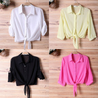 short coat Summer 2021 S,M,L,XL,2XL White, black, yellow, rose red three quarter sleeve have cash less than that is registered in the accounts Thin money singleton  Self cultivation commute routine Polo collar Single breasted Solid color 96% and above Bows, ties, buttons polyester fiber