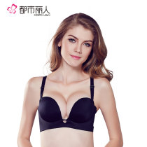 Bras U type Three quarters of Detachable double shoulder strap With steel ring 70A70B75A75B75C80A80B80C85C Light skin 1 gray blue 1 Black 1 After three rows of buckles City Beauty Young women Gather Thick cup No insert 090472 Pure color Diamond ornaments Nylon Urban beauty 090472 Spring 2017 No