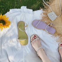 Sandals 35,36,37,38,39 Purple, off white PU The south is in the south Round head Flat bottom Low heel (1-3cm) Spring 2021 Flat buckle Simplicity Solid color Adhesive shoes Youth (18-40 years old) Composite bottom daily Beads, Roman style PU PU Sandals